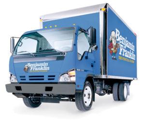 The Benjamin Franklin Plumbing BCS Toilet Repair Truck